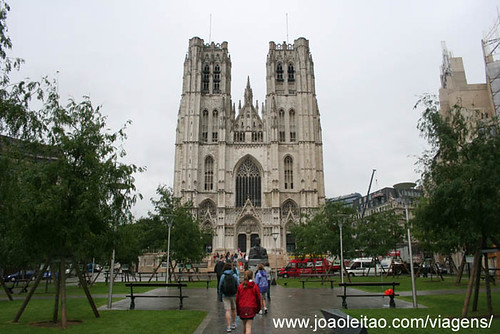 Photo of the Cathedral of St. Michael and St. Gudula Cathedral in Brussels Belgium