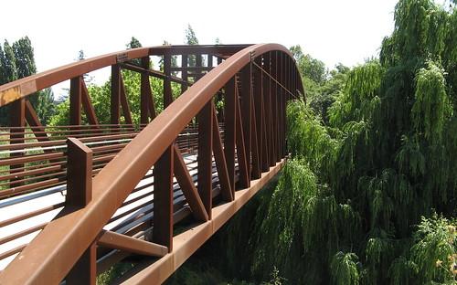 Rust-colored bridge