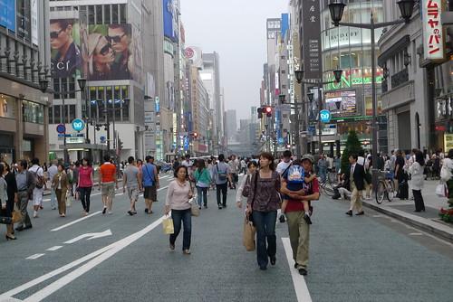 Ginza's weekend pedestrian zone