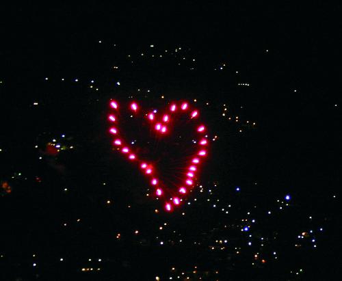 Red Heart Firework Effect
