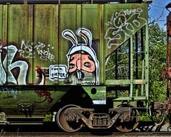P6261005 F EASTER (mrbrown001) Tags: bunny green art car train easter four graffiti costume rust paint grafitti box ears olympus system f vandalism sucks language 43 foul thirds