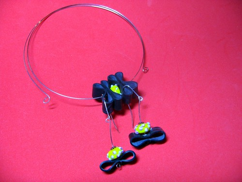 Bicycle Recycle Trashion Necklace and Earrings
