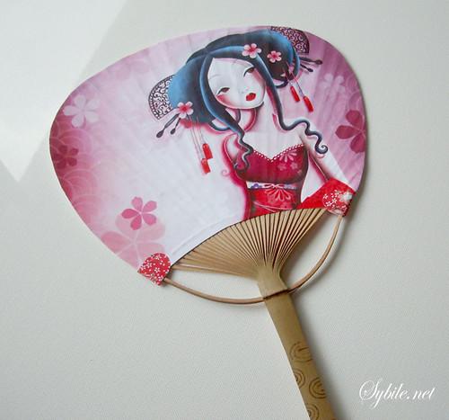 japanese art cherry blossom. Japanese Hand Fan Cherry
