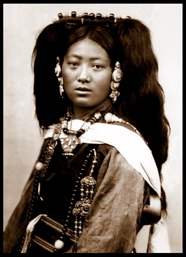 A YOUNG LADY OF OLD TIBET Women Hairstyles. tree head