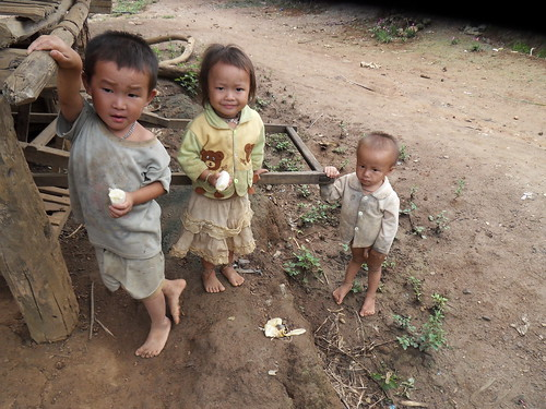 Hmong village children with their free bananas! Luang Prabang, Laos