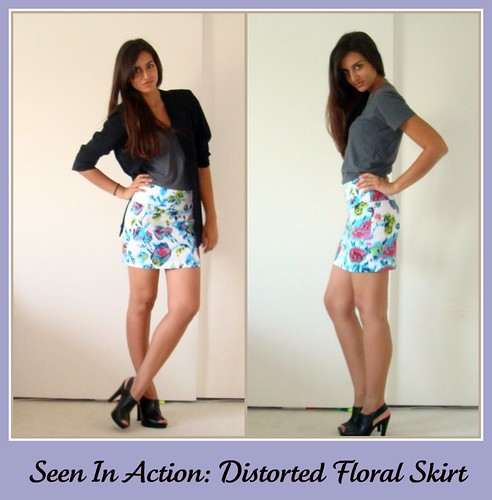 forever 21 skirt floral distorted