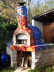 Pizza oven with mosaic (Waschbear - Frances Green) Tags: baking rainbow spirals mosaic mosaics pizza pizzaoven wfo picassiette woodfiredoven waschbear httpendawandacomshopwaschbear
