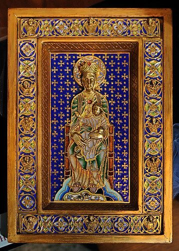 "Enamel, ""The Enthroned"", made in Spain, from the collection of the Marianum, photographed at the Cathedral of Saint Peter, in Belleville, Illinois, USA"