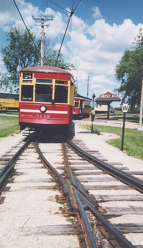 Historic Chicago electric streetcars at the Illinois Railway Museum. Union Illinois. June 2001.