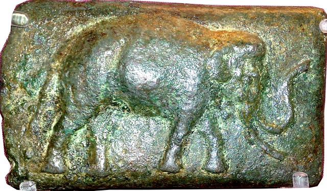 9/1 Aes Signatum Quincussis or 5 pound bar, with elephant and sow commemorating victory against Pyrrhus on display in the British Museum