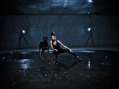 Urban chique (LalliSig) Tags: blue portrait urban woman dog white black reflection green water girl fashion iceland punk gray goth indoors portraiture doberman