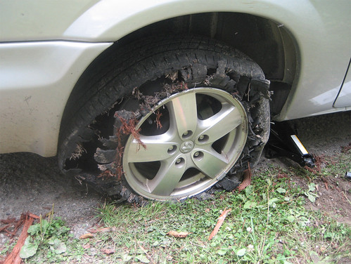 tire in need of replacement