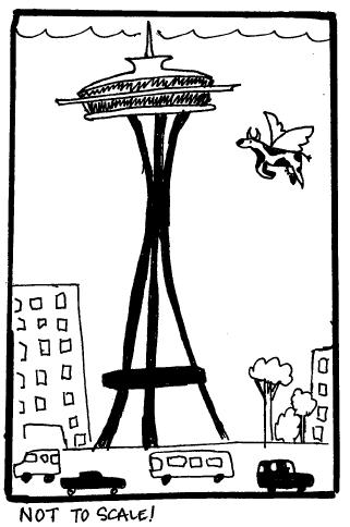 Flying Cowtoon - Space Needle