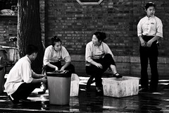 waiters (jmdiocos) Tags: china street bw restaurant cleanup rubbish tuesday cgb houhai bins waiter bejing dutone popbeijing