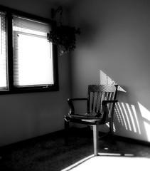 four dollars (k.pat) Tags: from windows light blackandwhite sunlight dark four blinds goodwill dollars hangingplant intheoffice captainschair kpat