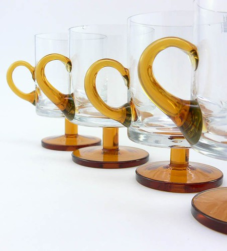Set of 4 Vintage Glassware Mugs with Orange Applied Handles