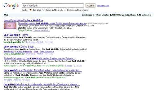 Jack Wolfskin bei Google - 19.10.2009 22:30 Uhr