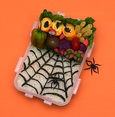 spider web bento (gamene) Tags: tomato spiderweb asparagus bento pickledradish purplecauliflower spicytofu yellowbeans