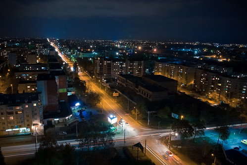 Chernivtsi, Holovna street at night