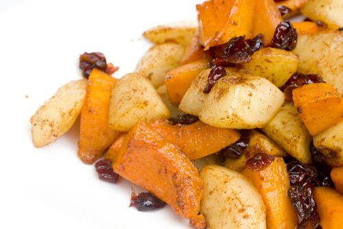 Roasted Butternut Squash, Pears, and Cranberries