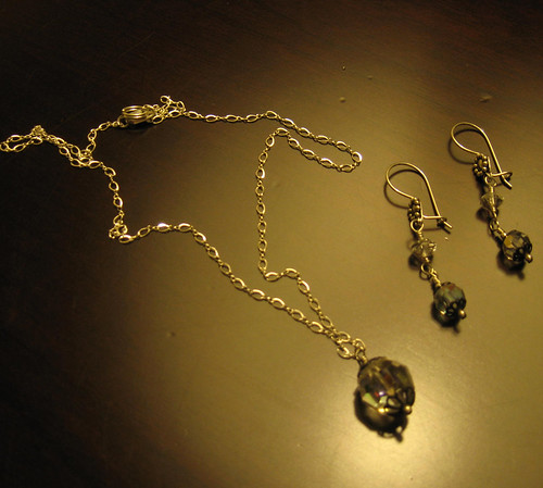 Antique crystal y-necklace and earrings set