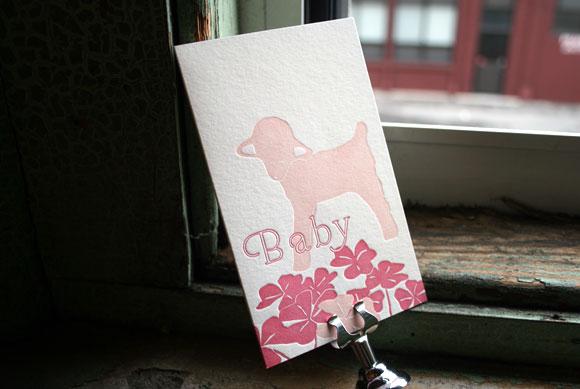 Letterpress Baby Announcement by Smock