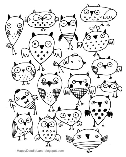 Bedtime Sketch: Owls