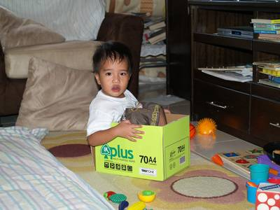 Julian sits in the box
