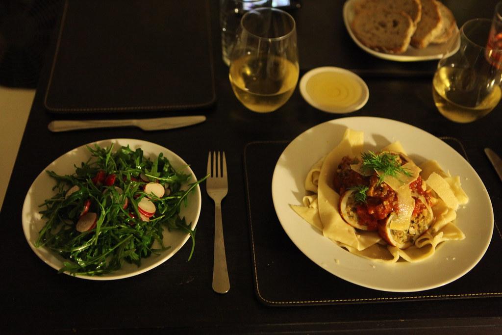 Stuffed Calamari, Tagliatelle & Radish Salad