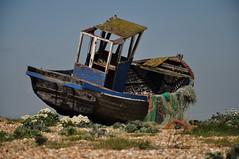 Kent Dungeness (daveknight1946) Tags: dungeness kent shingle weeds boat wreck nets fishingnets fishingboat