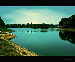 Lalbagh Lake (shri :)) Tags: india lake water clouds canon landscape photography flickr bangalore sigma lalbagh artphotography bluetones sigma70300 sigma70300apodgmacro 450d canon450d shrikanthsy lalbaglake