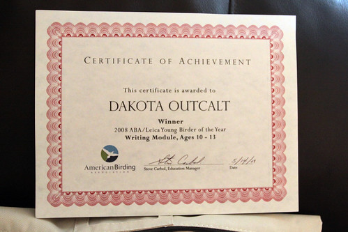 Dakota's ABA Young Birder of the Year Award for the Writing Module!