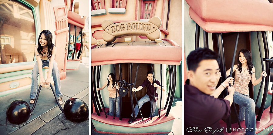 Vintage toned toontown jail disneyland engagement session