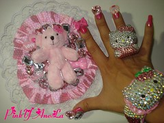 My New Kawaii Teddy Bear Deco Mirror and Maching Nails (Pinky Anela) Tags: pink cute japanese tokyo mirror hellokitty nails teddybear kawaii deco gems bows compact nailart