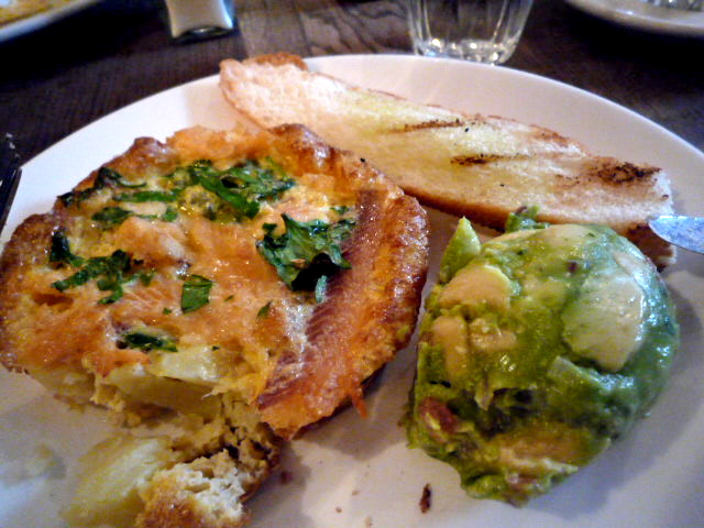 Frittata of smoked trout and potato with avocado salsa