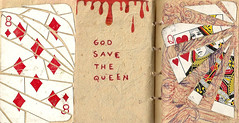 La Reina (Lucy Bel) Tags: red white blanco glass collage pen paper notebook la reina blood rojo little god crash recycled handmade cut save queen card mano crumble papel libreta carta pequea sangre vidrio dios salve hecho recorte reciclado madreselva fragmentos birome