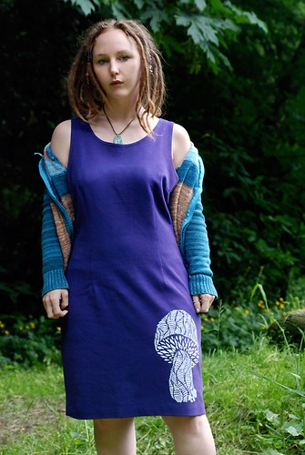Purple Mushroom screen print Dress