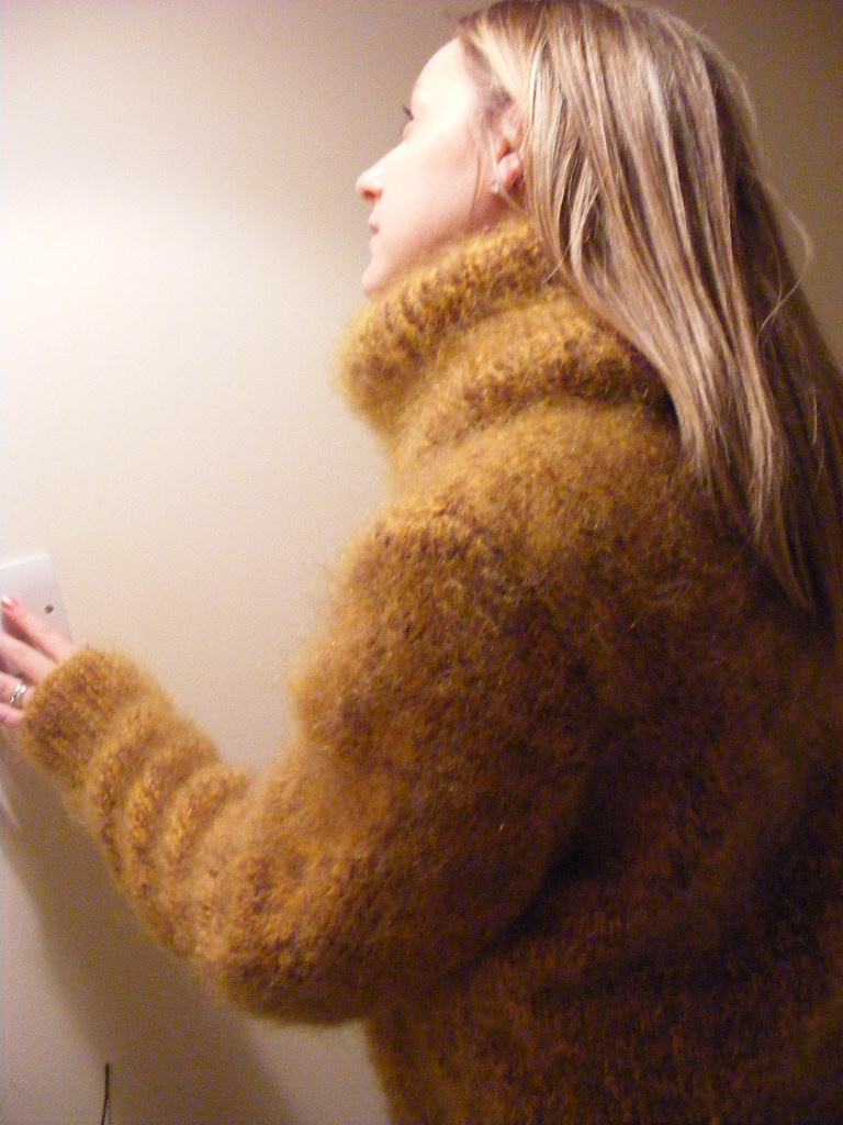 Luxury Mohair Turtle Neck Sweater/Dress, mix of brown/gold colour