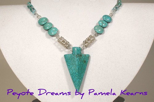 Turquoise arrow pendant with chainmaille