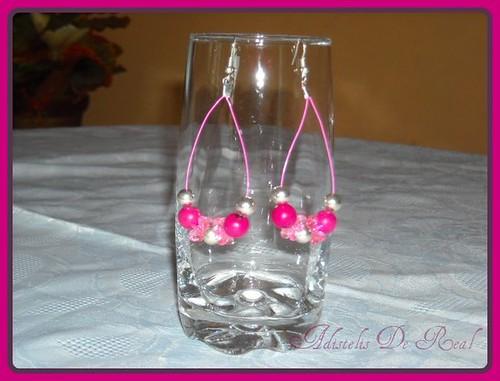 Pendientes en tagua rosada