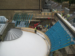 Installing the glass roof for Gallery 64b at the V&A, July 2009. Image courtesy of MUMA.