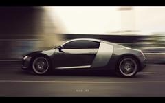 P&S: Audi R8 (isayx3) Tags: light wallpaper motion blur car sport point moving automobile shoot dof natural ps coolpix audi supercar pointshoot r8 p5000 plainjoe isayx3
