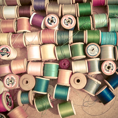 (_cassia_) Tags: pink blue white green thread silver gold brighton colours purple market sewing cream stall cotton tray cottonreels