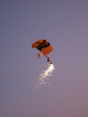 Parachuting Man with Fireworks