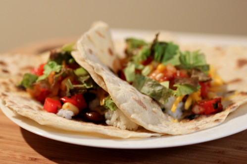tacos in homemade tortillas
