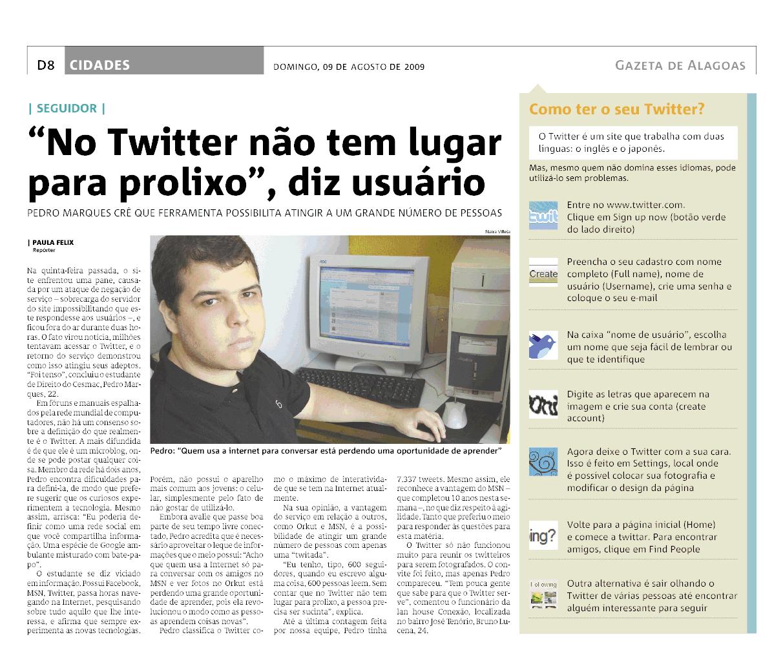 Matéria sobre Twitter na Gazeta de Alagoas