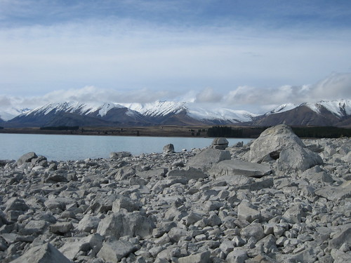 Lake Tekapo, surrounded by mountains