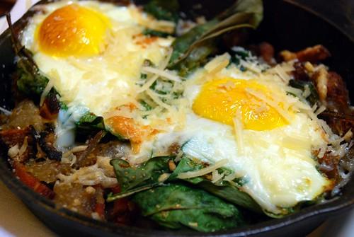 eggs in skillet @ spoon