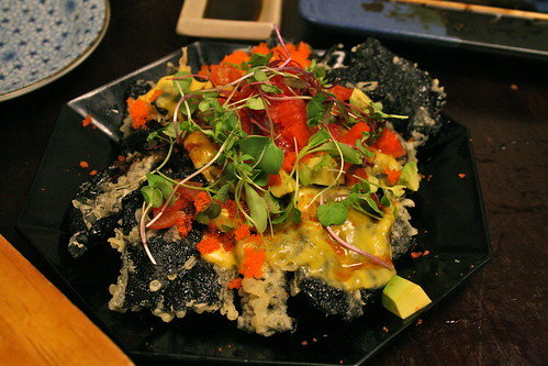 """nori-chos"" - nachos made with fried nori. (YUM.)"