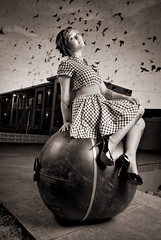 cara mia xo (metakephoto) Tags: black abandoned pool birds tattoo oregon vintage ball portland hotel flying highheels motel retro thebirds rockabilly pdx hitchcock crows pinup ravens swarm metakephoto hitchcockesque jeffmawer strobist caramiaxo